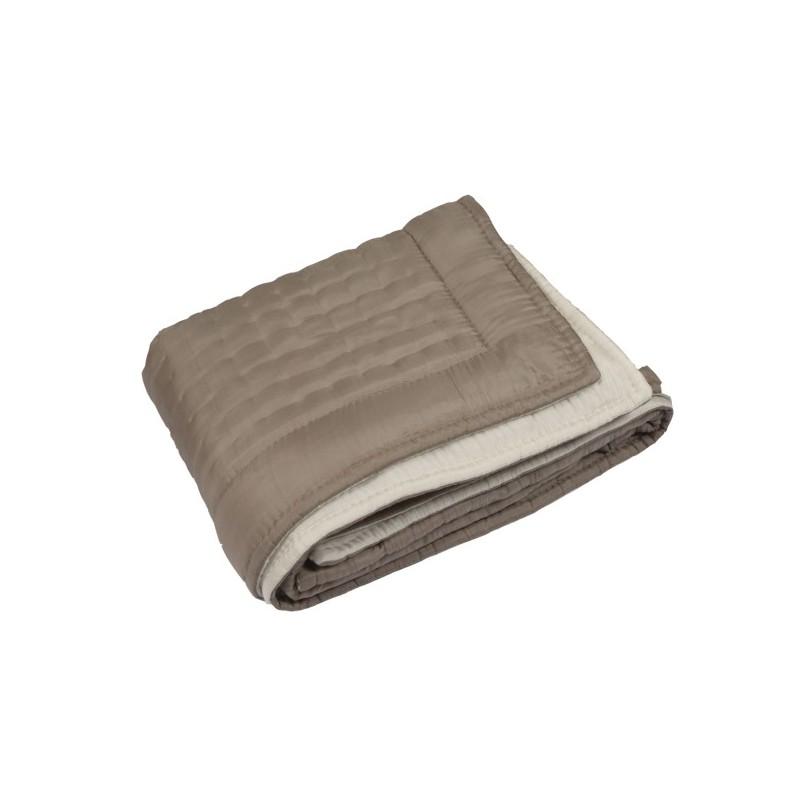 boutis couvre lit en soie taupe. Black Bedroom Furniture Sets. Home Design Ideas