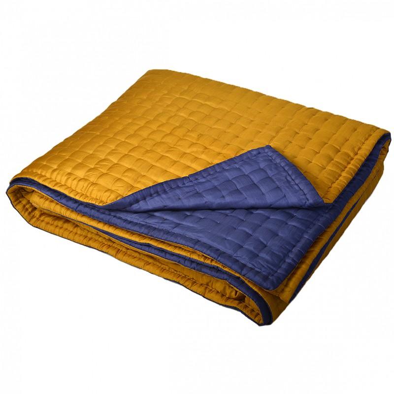 boutis couvre lit en soie bleu jaune. Black Bedroom Furniture Sets. Home Design Ideas