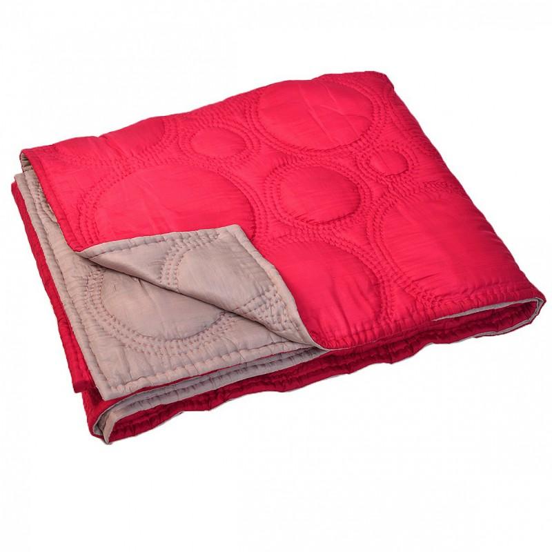 boutis couvre lit en soie rouge gris. Black Bedroom Furniture Sets. Home Design Ideas
