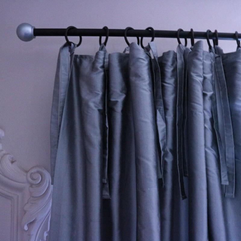 rideau en taffetas de soie gris 350 cm. Black Bedroom Furniture Sets. Home Design Ideas