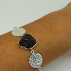 Bracelet argent et grenat Candice