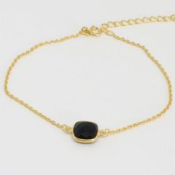Bracelet chaine doré Onyx noir