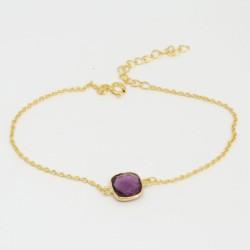 Bracelet chaine doré Améthyste