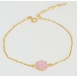 Golden chain bracelet pink Chalcedony