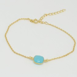 Golden chain bracelet blue Chalcedony