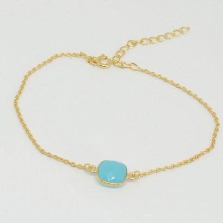 Bracelet chaine Chalcedony bleue