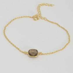 Bracelet chaine doré Quartz fumé