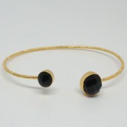Bracelet jonc Onyx noire Nour