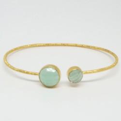 Bracelet jonc Calcédoine bleue
