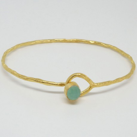 Bracelet jonc Calcédoine vert aqua