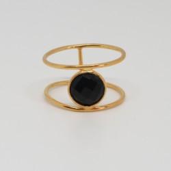 Bague dorée Onyx noire