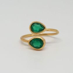 Bague dorée Onyx vert
