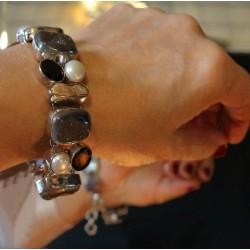 Bracelet argent grenat et perles