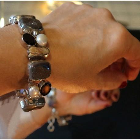 silver garnet bracelet Diva