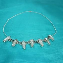 Collier argent perle biwa
