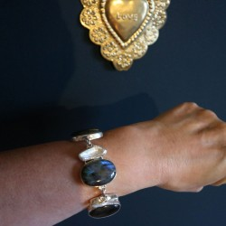 Bracelet argent perle biwa