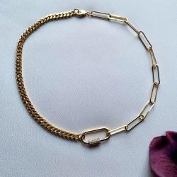 collier doré maille trombone mousqueton