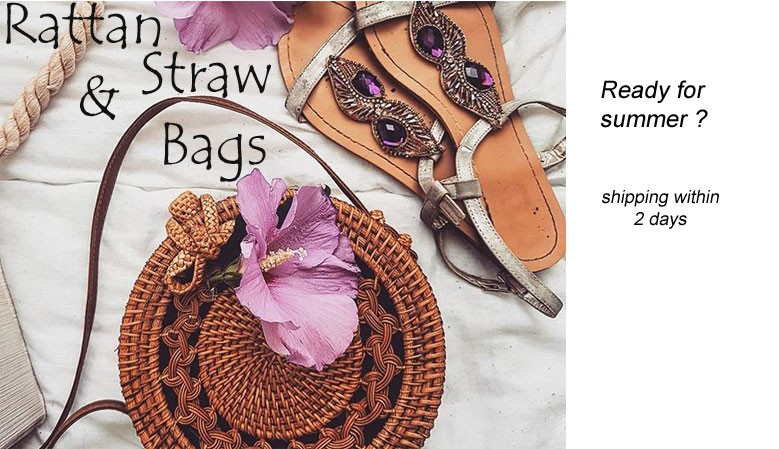 Rattan and straw bags